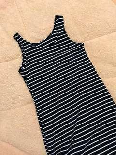 🚚 針織黑白條紋無袖洋裝