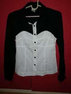 Black & White Long Sleeve Polo