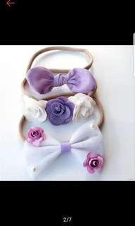🚚 BN baby girl purple handband set