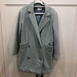 🚚 (二手女裝) 韓版混羊毛寬鬆大衣外套 - 湖水綠/F