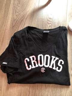 Crooks pink font t shirt