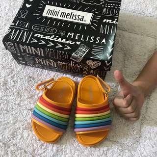 🚚 BN Mini Melissa Baby Girl Beach Slide Rainbow Sandals Sunshine Yellow US5! 12-18mths!