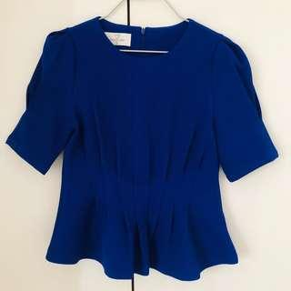 Korean Bright Blue Peplum Top Size XS