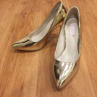 Gold Chrome Pointed Heels