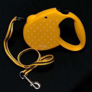 🚚 Flexi 飛萊希 點點 伸縮 牽繩 項圈 M號 黃色 芥末黃 水波 5米 5公尺 5M 德國製 二手 近全新 只有一件