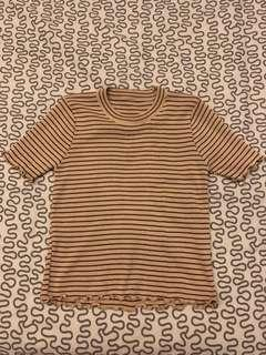 Striped ruffle cropped top (BRAND NEW)