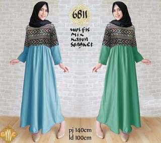 Maxi Dress 6811/Dress Muslim Wanita/Gamis wolfis kombi katun songket