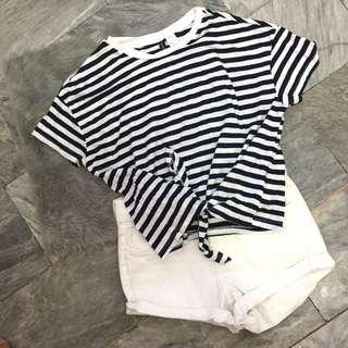 BNWOT H&M Navy Striped Tie Crop Top