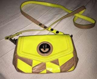 Mimco Tan and Lemon Hip Bag