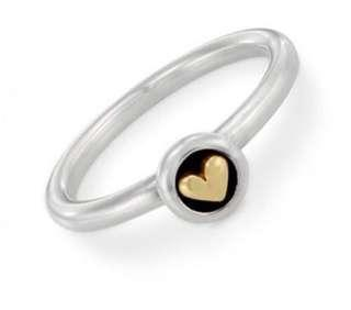 Pandora Silver and 14ct Gold Heart Ring