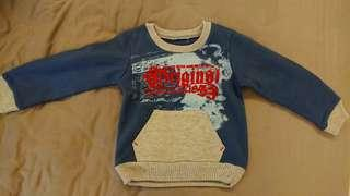 男童刷毛口袋上衣(1-3歲/藍)