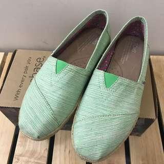 TOMS 編織鞋 綠色