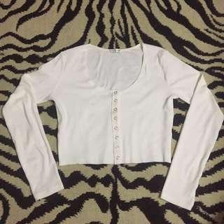 White button up crop top