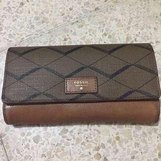 Fossil Wallet Sydney Flap Clutch Brown - SL6836 #maudompet