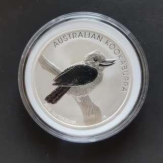 2010 Kookaburra 99.9% silver 1 ozt coin in capsule