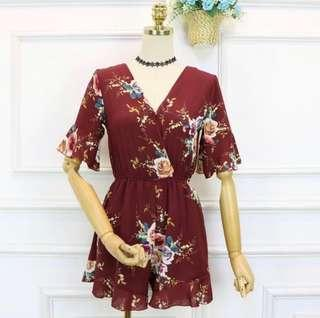 Floral Jumpsuit in Wine Red