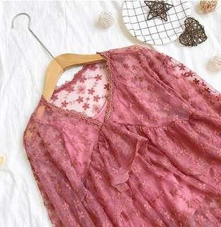 Two Piece Floral Pink Lace Top