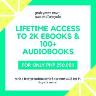 Approximately 2k ebooks, 100+ audiobooks & scribd account!