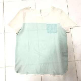 Top crepe baby blue white