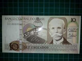 [America] Brazil 10 Cruzeiro Old Paper Note (1987 Series)