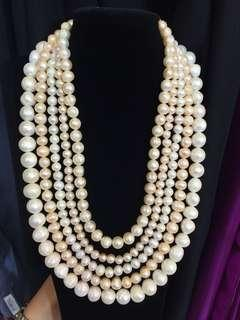 5 layers ivory & pastel pearl necklace