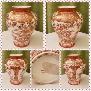 明治時期 九谷燒 赤繪金襇手 八喜鵲 Japanese antique