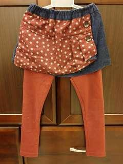 🚚 假兩件燈芯絨裙褲(110cm)