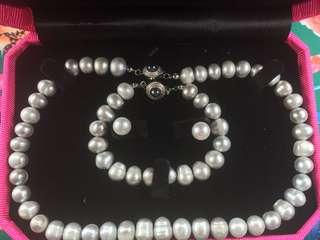 Princess Length Silver Pearl Necklace