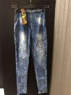 High waist dyed blue jeans