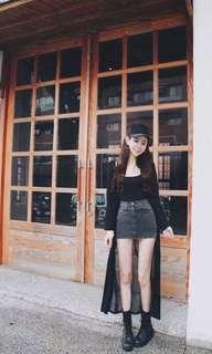 🚚 二手 長版黑色顯瘦罩衫 售價450$