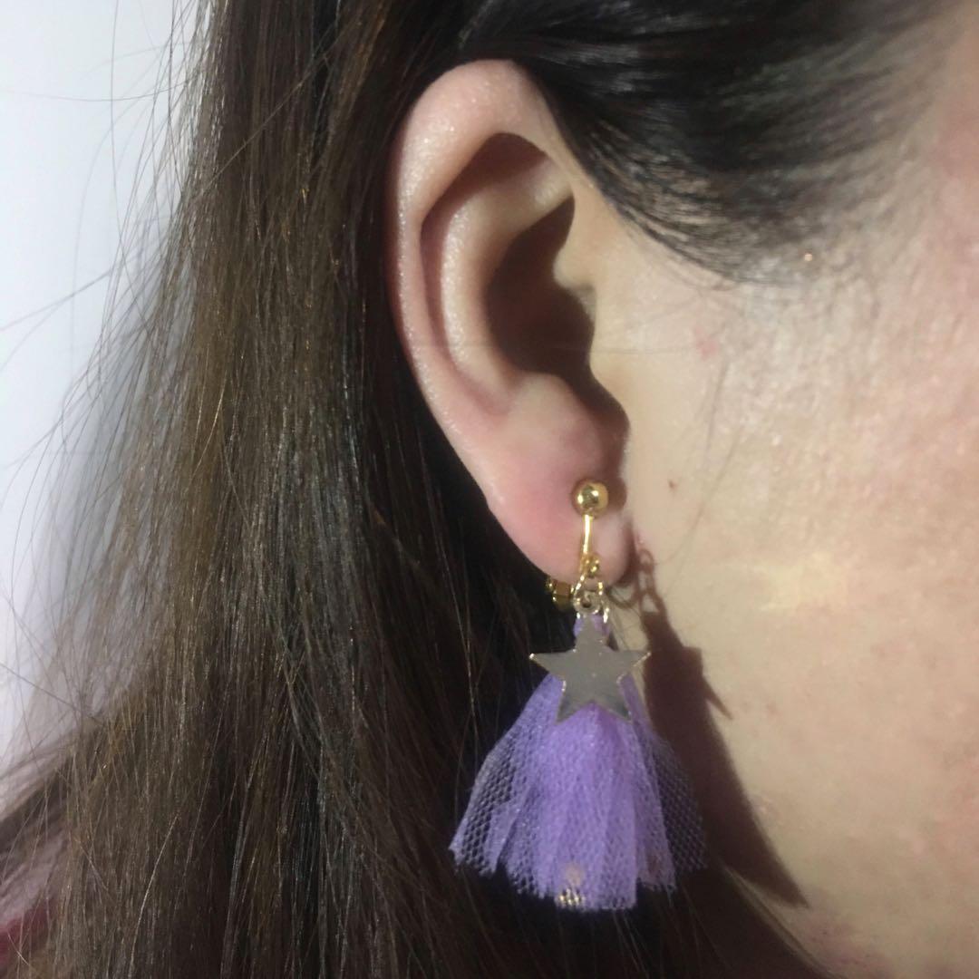 耳夾 無耳洞耳環 星星紫色流蘇
