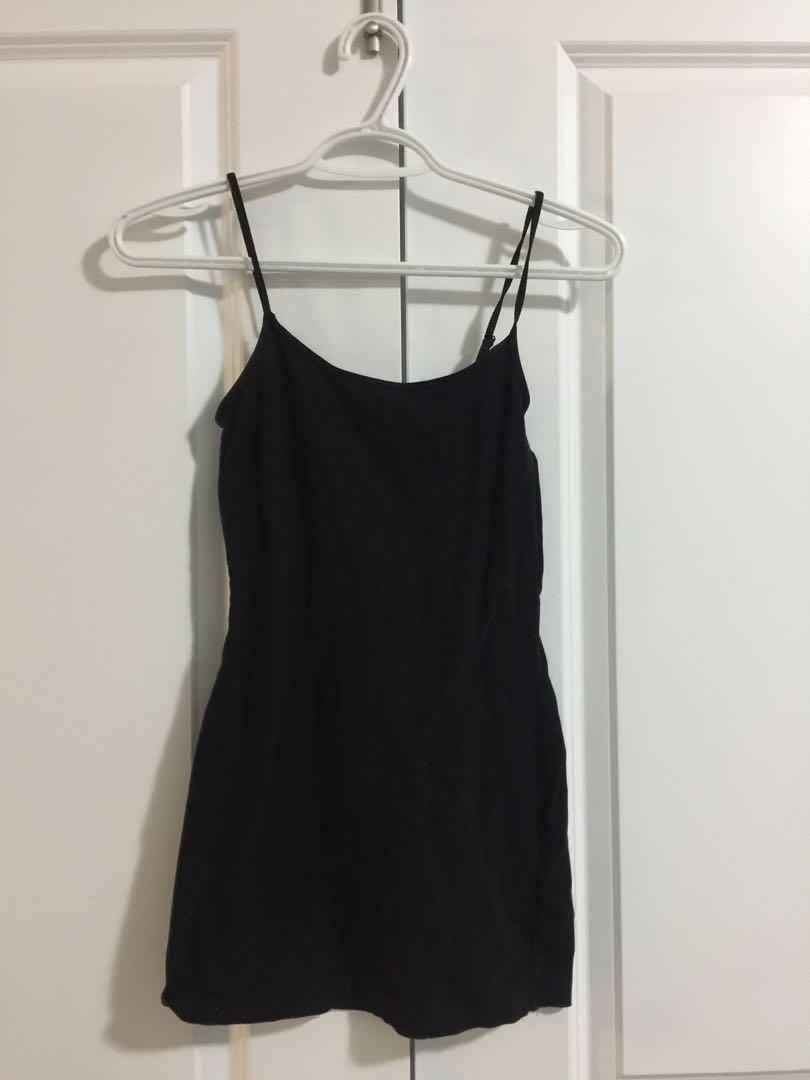 Black cami spaghetti strap dress