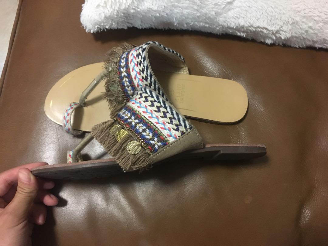 $15 SALE Boho slides sandal flats - Sz 37 - Leather sole