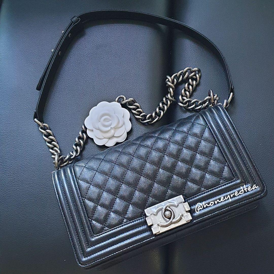 3f84c50b55c2 CHANEL Classic Quilted Boy Bag (Black caviar leather, RHW, medium ...