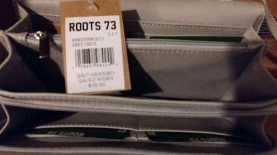 BRAND-NEW, UNUSED ROOTS GREY CROSSBODY PURSE/WALLET w/ original tags attached