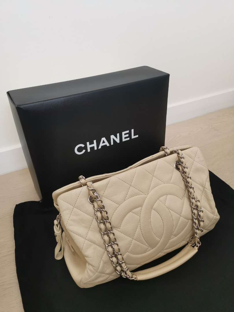 5efec4e2e6 Chanel Quilted Cream Leather Large Tote Bag, Luxury, Bags & Wallets ...