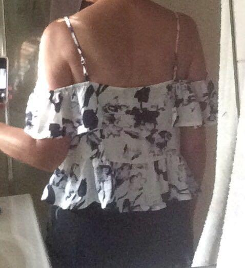 Cold shoulder dark purple floral on white top