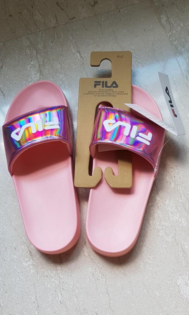 Fila pink holographic slides, Women's