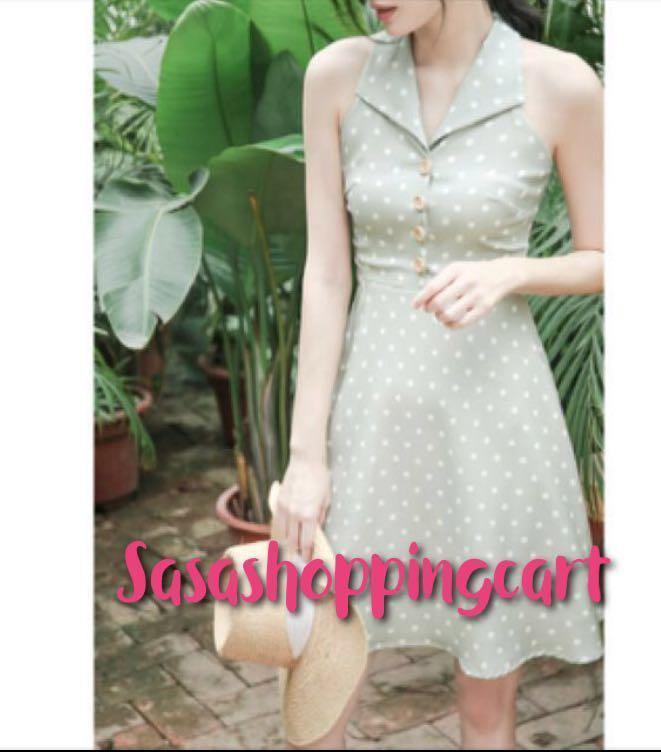 (Green) Vintage Dots wood button dress A word skirt
