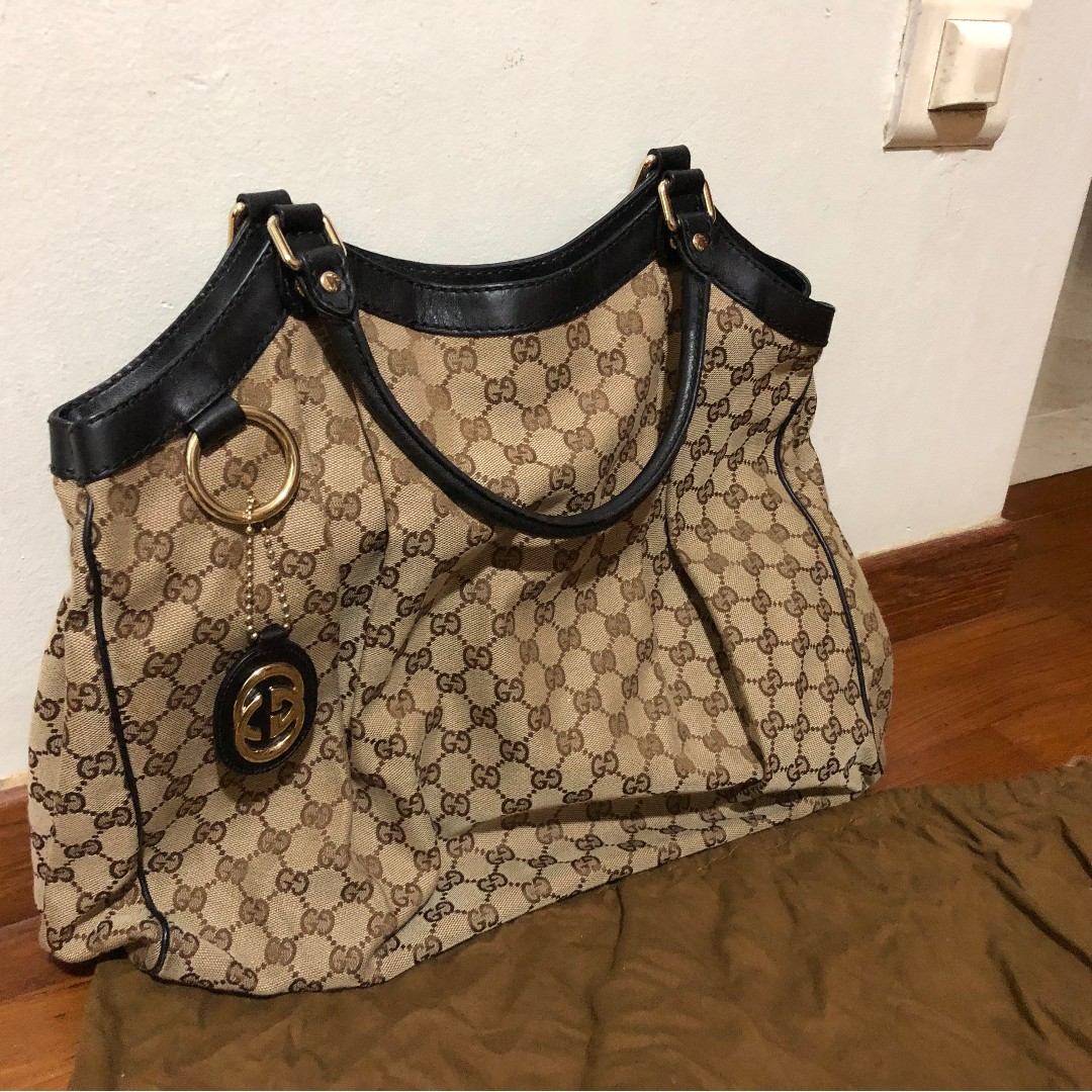 579ab2c32 GUCCI Monogram Large Sukey Tote Brown, Luxury, Bags & Wallets ...