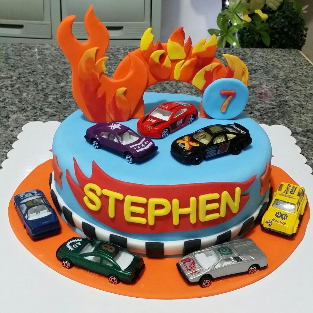 Cool Hot Wheels Fondant Cake For Kiddie Birthday Food Drinks On Funny Birthday Cards Online Elaedamsfinfo
