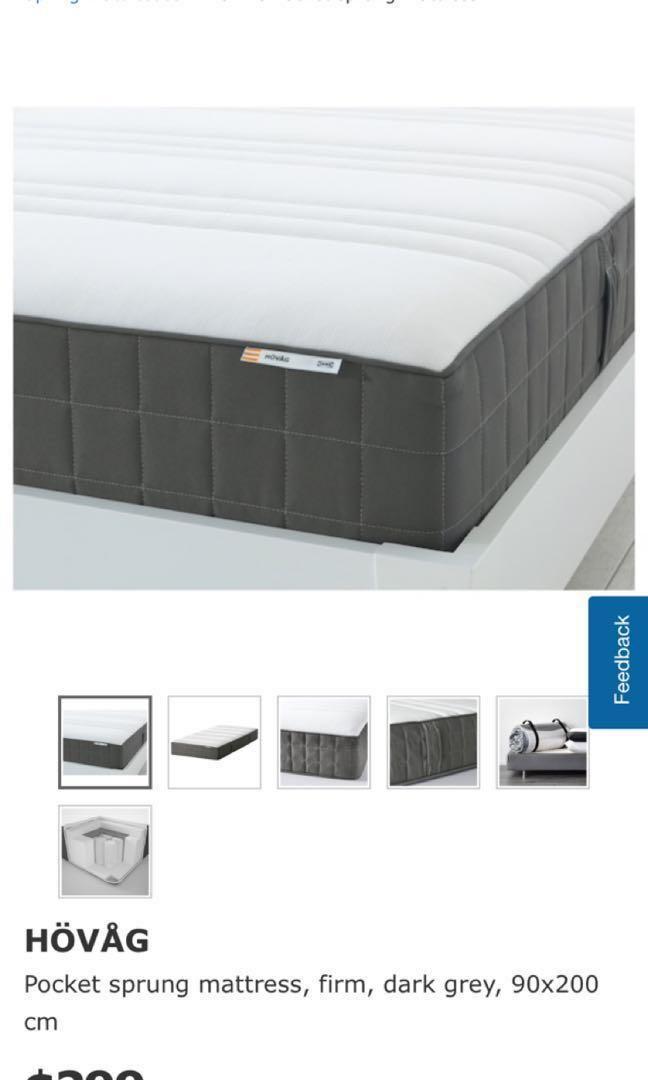 IKEA Hovag Pocket spring mattress 90x200, Furniture, Beds