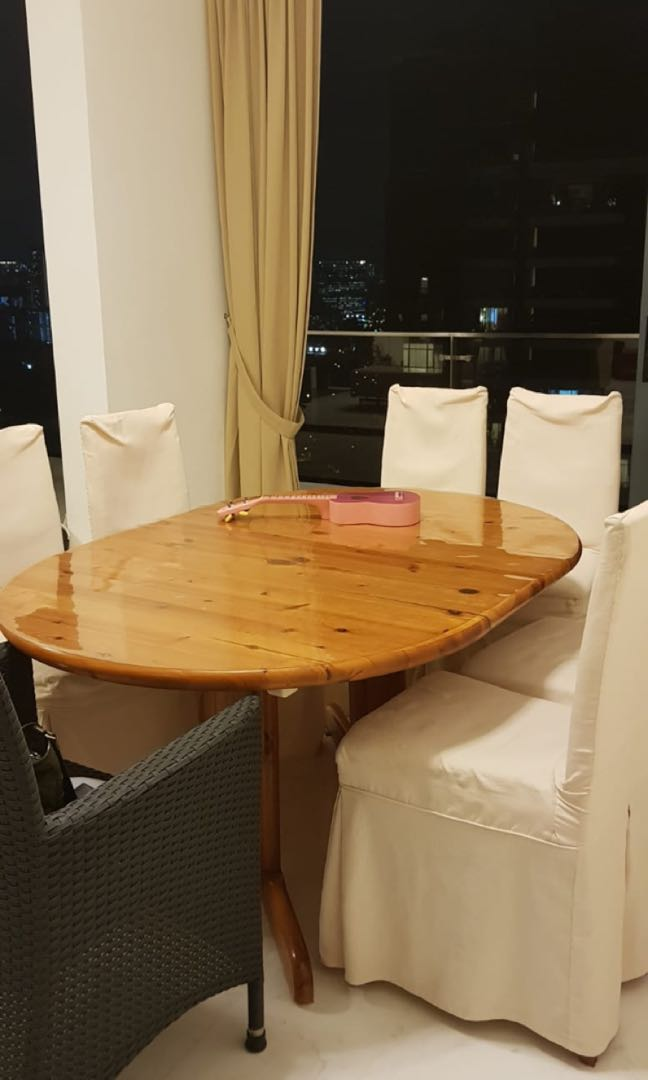 Ikea Solid Pine Wood Dining Table Chairs
