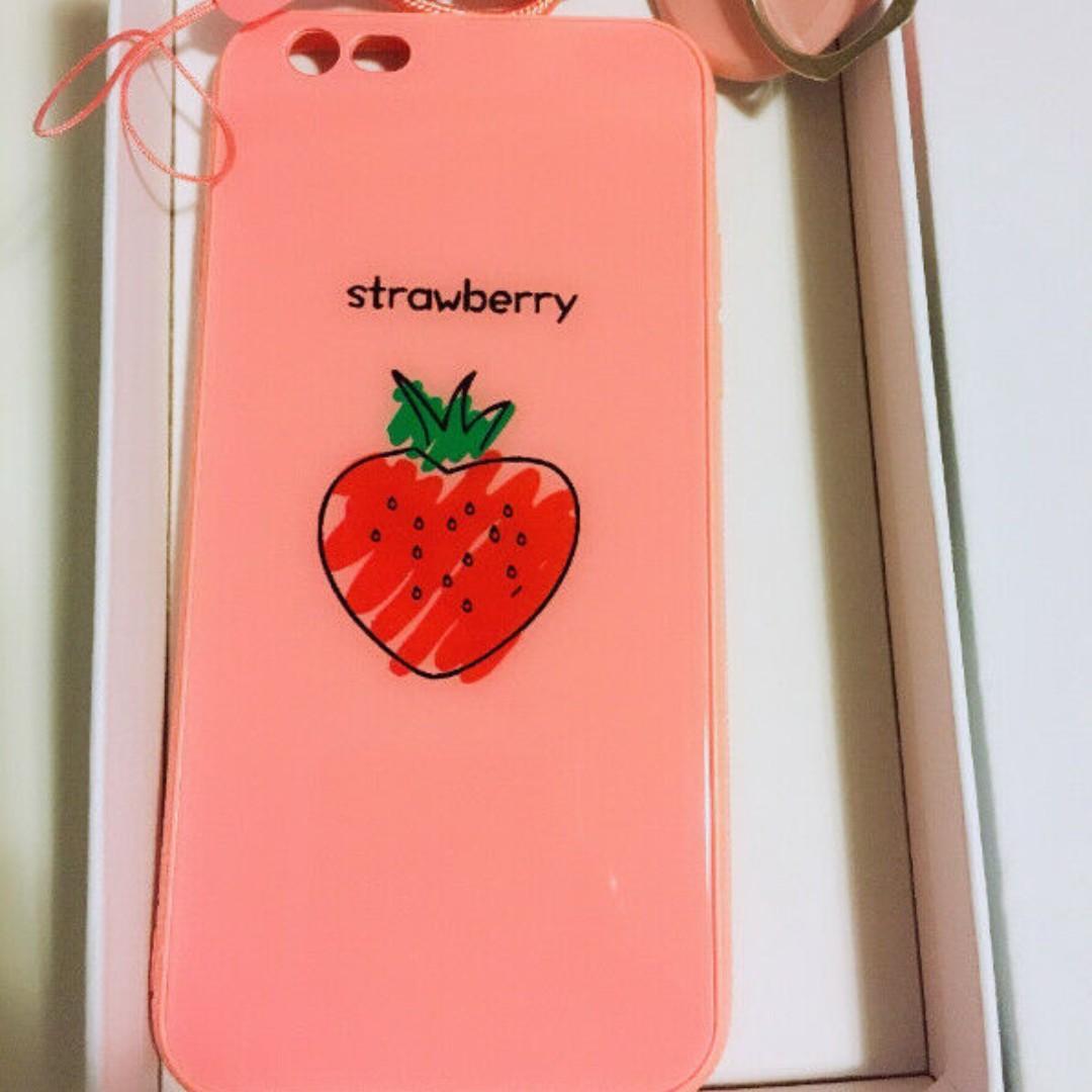 iPhone 6 strawberry pattern pretty GLASS case with free stuff