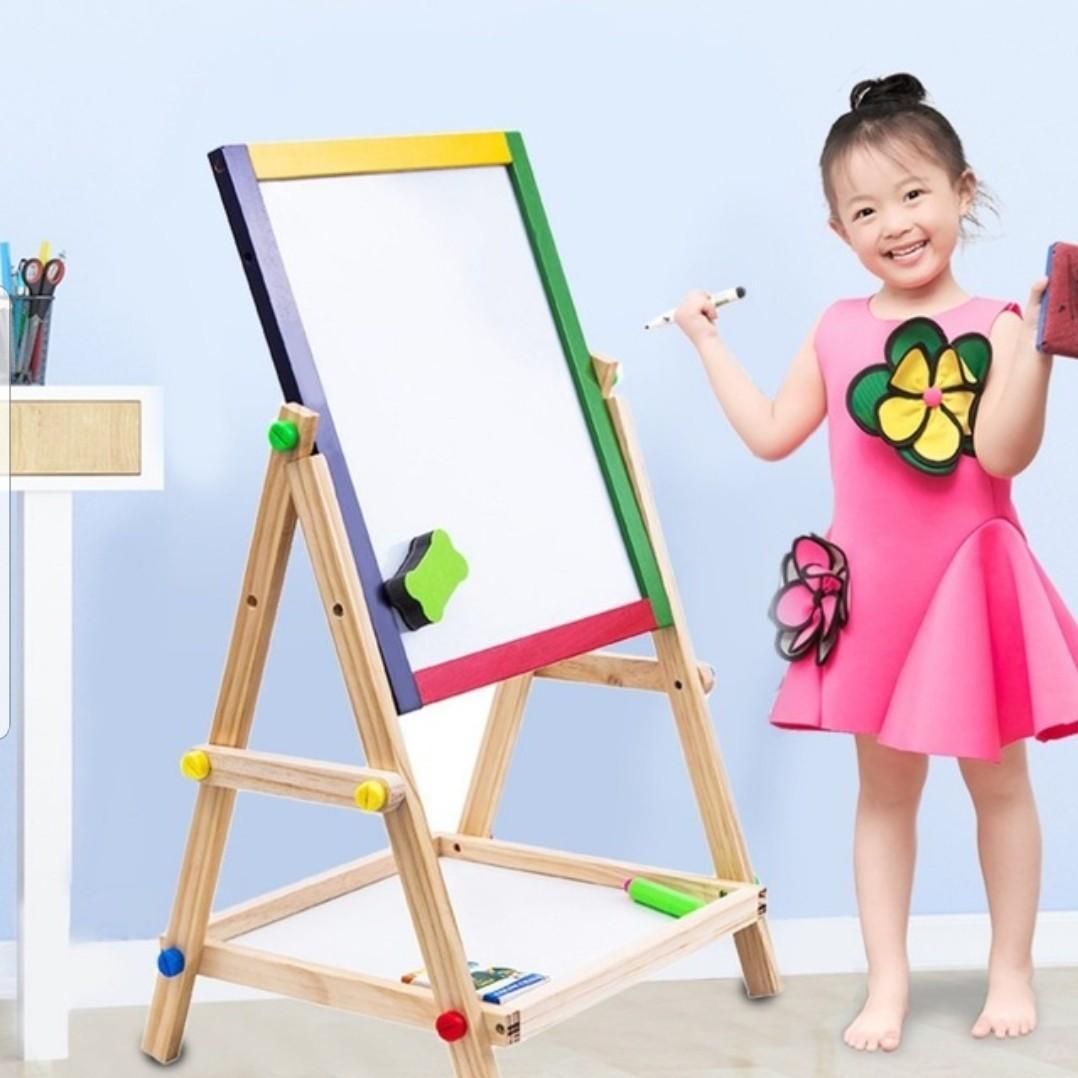 Kid's Wooden 2 In 1 Easel Blackboard Blackboard Blackboard
