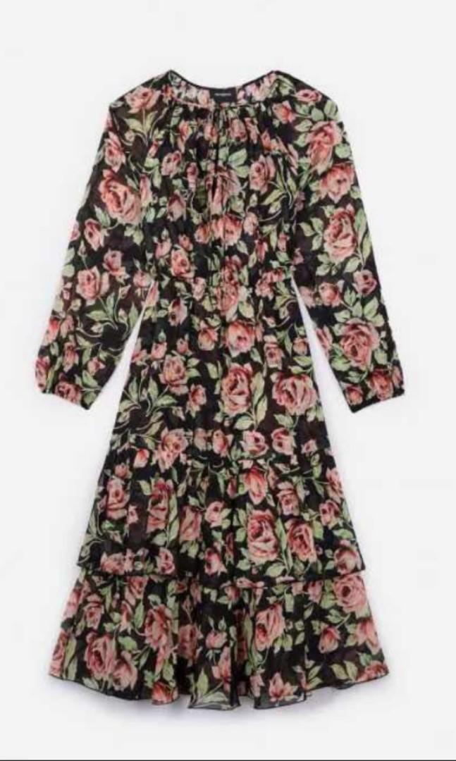 0d9a0f323f7 Kooples - Black silk dress with Neon Rose print, Women's Fashion ...