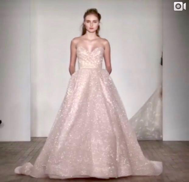 Lazaro 3810 Wedding Ball Gown Shimmer Glitter Blush Pink Princess