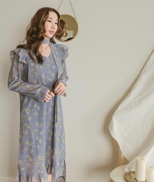 Mercci22 藍色 清新碎花荷葉綁帶洋裝
