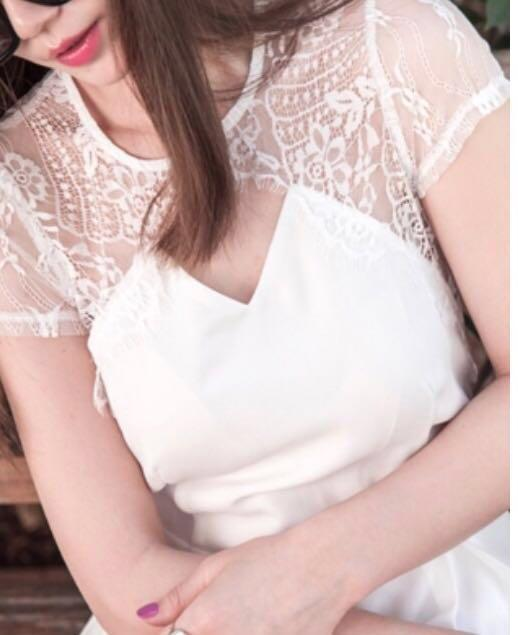 Mercci22 白色 雪紡蕾絲連身短褲