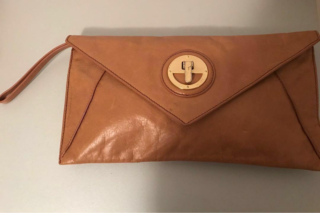 Mimco Large Envelope Clutch In Tan
